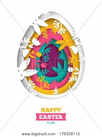 Happy Easter greeting card with abstract carved egg and floral paper cut shapes on white background. Vector illustration. Colorful 3D carving art, floral elements and rabbits