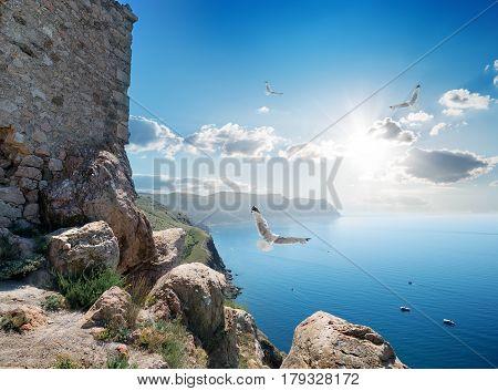 Fortress near sea at beautiful sunny day