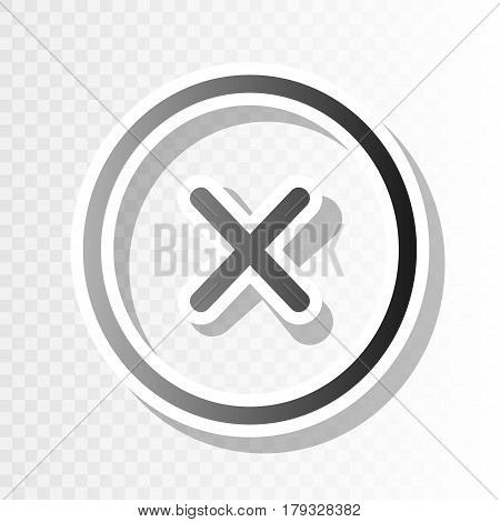 Cross sign illustration. Vector. New year blackish icon on transparent background with transition.
