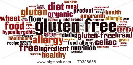Gluten free word cloud concept. Vector illustration