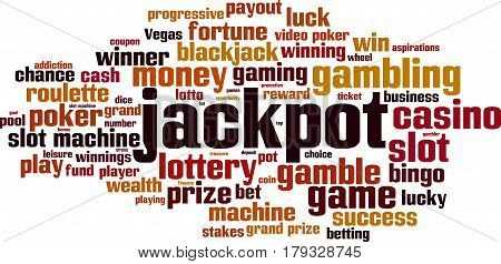 Jackpot word cloud concept. Vector illustration on white