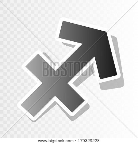 Sagittarius sign illustration. Vector. New year blackish icon on transparent background with transition.