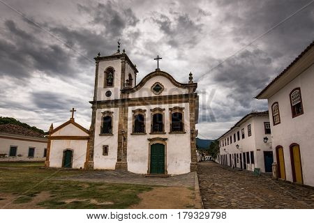 Colonial Santa Rita de Cassia Church in Historical Center of Paraty, Brazil