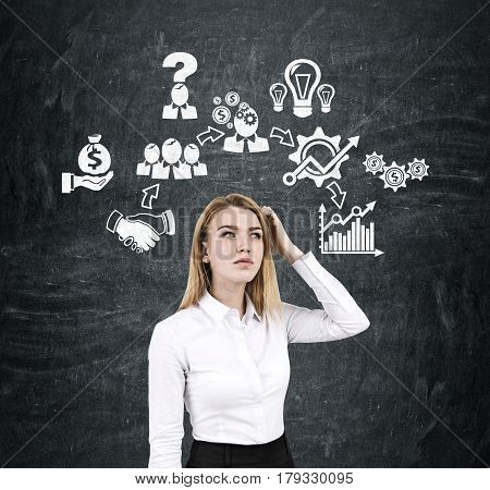 Woman Scratching Head And Business Icons
