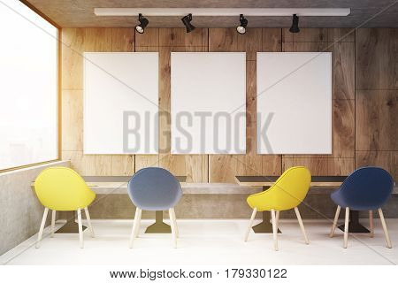 Cafe With Yellow And Blue Chairs, Toned