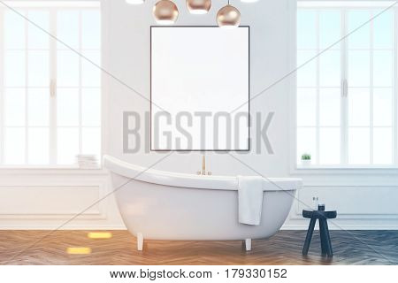 Gray Bathroom Interior With Poster, Toned