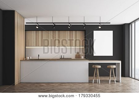 Black Kitchen With Bar And Poster