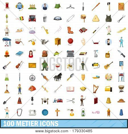 100 metier icons set in cartoon style for any design vector illustration