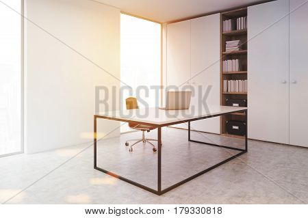 Ceo Office With A Laptop, Side, Toned