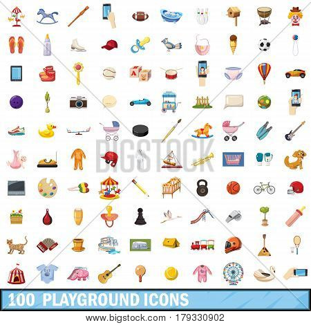 100 playground icons set in cartoon style for any design vector illustration
