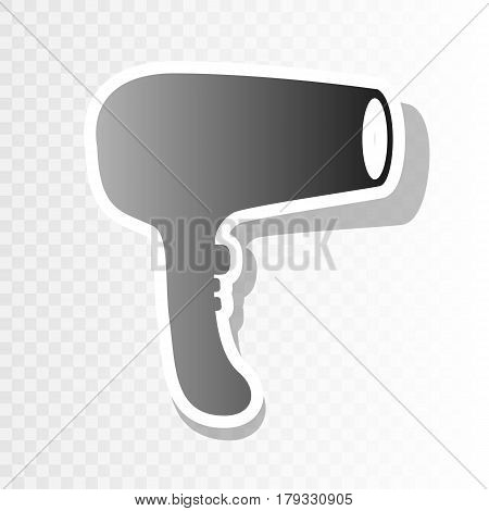 Hair Dryer sign. Vector. New year blackish icon on transparent background with transition.