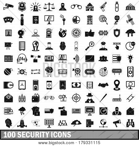 100 security icons set in simple style for any design vector illustration