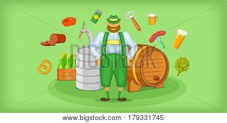 Brewer horizontal banner concept symbols. Cartoon illustration of brewer symbols vector horizontal banner for web