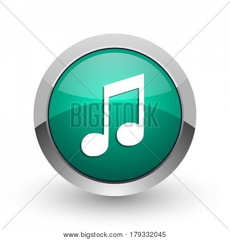 Music silver metallic chrome web design green round internet icon with shadow on white background.