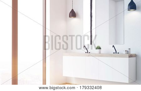 Double Sink, White Wall, Side View, Toned