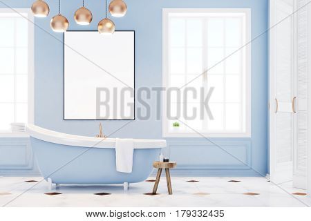 Blue Bathroom Interior With Poster, Front