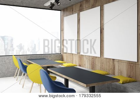 Cafe With Yellow And Blue Chairs, Side