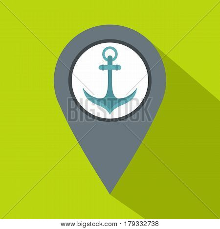 Gray map pointer with anchor symbol icon. Flat illustration of gray map pointer with anchor symbol vector icon for web isolated on lime background