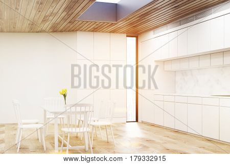 White Kitchen With Round Table, Toned