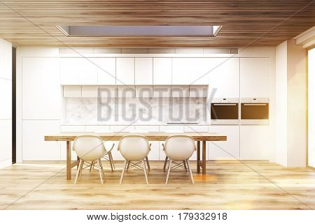 Marble Kitchen With A Long Table, Toned