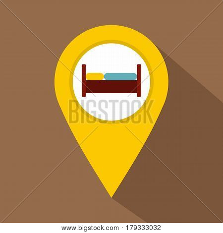 Yellow map pointer with symbol hotel or rest room icon. Flat illustration of map pointer with symbol hotel or rest room vector icon for web isolated on coffee background