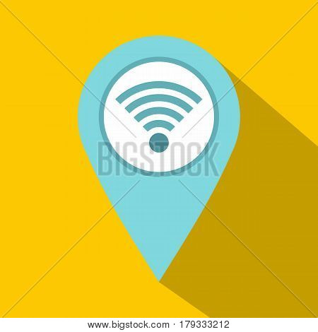 Light blue map pointer with wi fi symbol icon. Flat illustration of light blue map pointer with wi fi symbol vector icon for web isolated on yellow background
