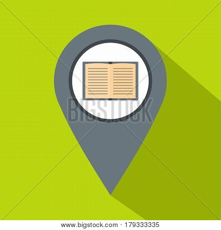 Gray map pointer with book icon. Flat illustration of gray map pointer with book vector icon for web isolated on lime background