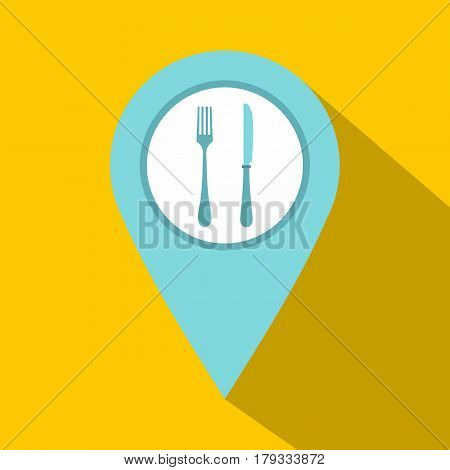 Light blue map pointer with restaurant sign icon. Flat illustration of light blue map pointer with restaurant sign vector icon for web isolated on yellow background