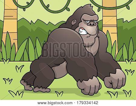 Cartoon Gorilla Jungle
