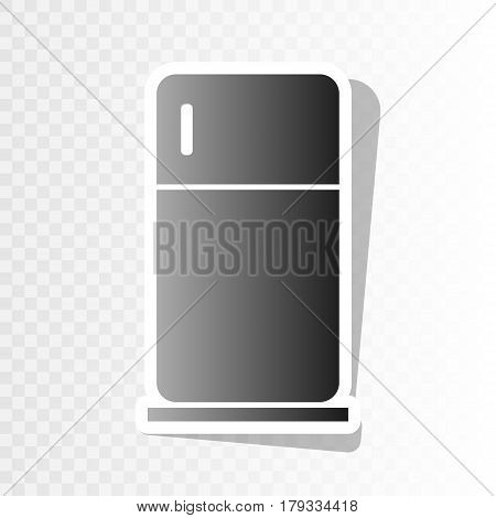 Refrigerator sign illustration. Vector. New year blackish icon on transparent background with transition.