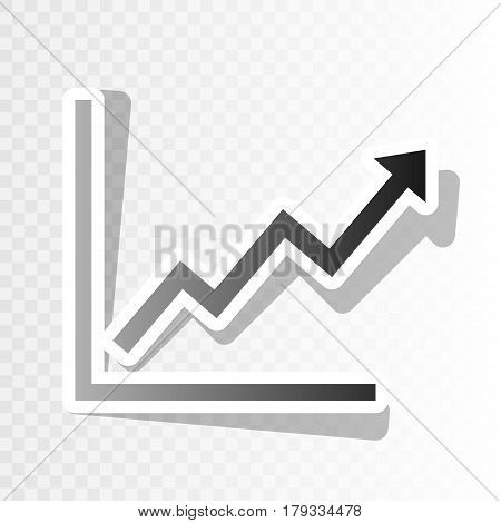Growing bars graphic sign. Vector. New year blackish icon on transparent background with transition.