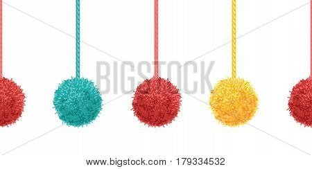 Vector Colorful Decorative Pompoms With Ropes Horizontal Seamless Repeat Border Pattern. Great for handmade cards, invitations, wallpaper, packaging, nursery designs. Surface pattern design.