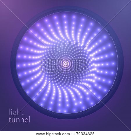 Vector infinite round tunnel of shining flares on violet background. Glowing points form tunnel sectors. Abstract cyber colorful background for your designs. Elegant modern geometric wallpaper.