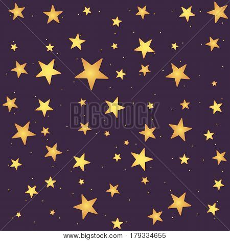 Seamless vector pattern with yellow gradient stars on dark backdrop. Repeating background in cartoonish childish style.