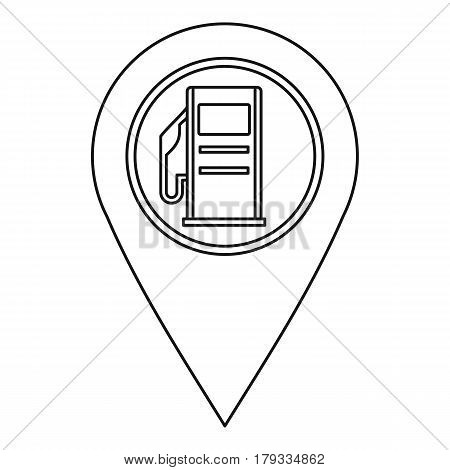 Map pin pointer with gas station sign icon. Outline illustration of map pin pointer with gas station sign vector icon for web