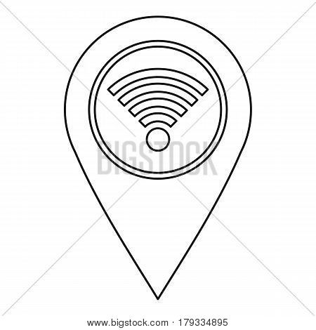 Geo tag with wi fi sign icon. Outline illustration of geo tag with wi fi sign vector icon for web