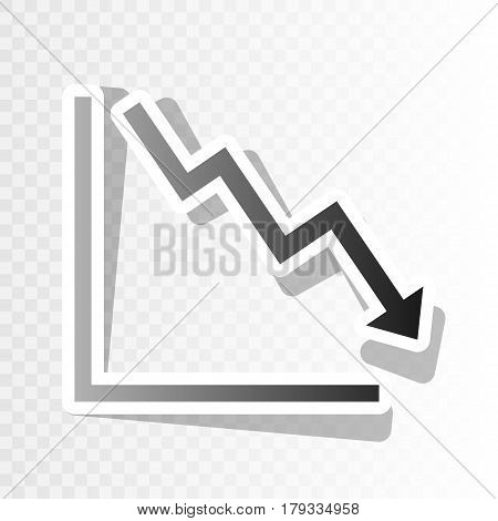 Arrow pointing downwards showing crisis. Vector. New year blackish icon on transparent background with transition.
