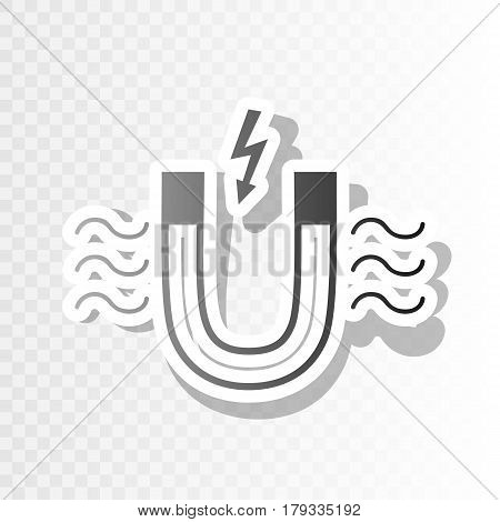 Magnet with magnetic force indication. Vector. New year blackish icon on transparent background with transition.