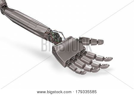 Robotic Metallic Hand Isolated On White Background. 3D Rendered
