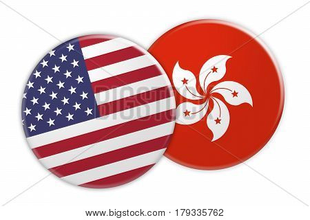 US News Concept: USA Flag Button On Hong Kong Flag Button 3d illustration on white background