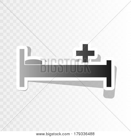 Hospital sign illustration. Vector. New year blackish icon on transparent background with transition.