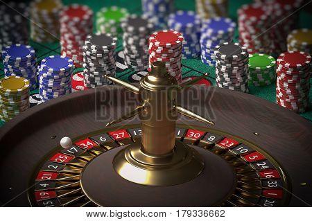 3D Rendered Illustration Of Casino Roulette. Gambling Concept.