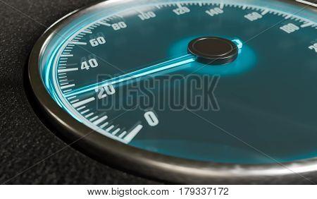 3D Rendered Illustration Of Illuminated Speedometer In Car Inter