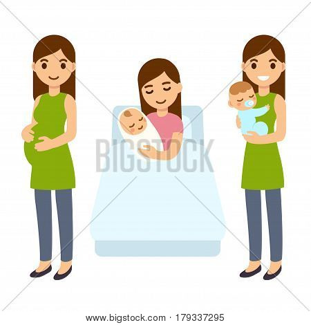 Pregnancy and birth cute cartoon vector illustration. Young pregnant woman in hospital bed with newborn baby new mom with child. Modern simple healthcare and medical infographic design elements.