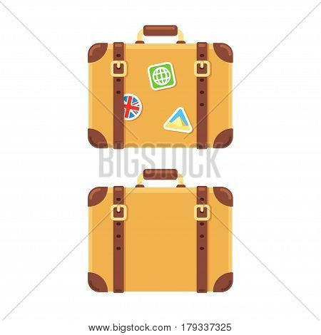Old vintage leather suitcase plain and with stickers of visited places. Isolated vector illustration in flat cartoon style.