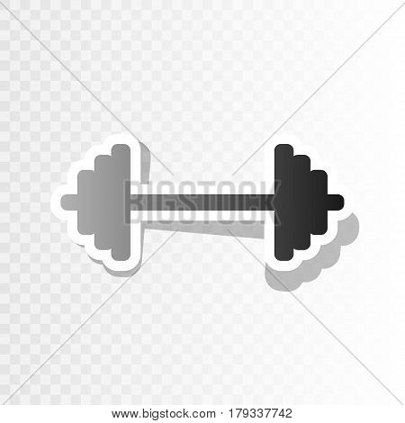 Dumbbell weights sign. Vector. New year blackish icon on transparent background with transition.