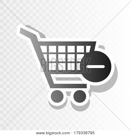 Vector Shopping Cart with Remove sign. Vector. New year blackish icon on transparent background with transition.