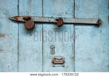Blue Old Wooden Door, Paint Crumbling, Rusty Metal Heck, Old Castle, Vintage Background.