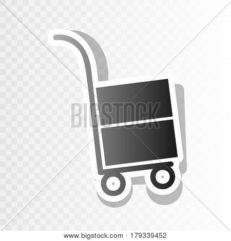 Hand truck sign. Vector. New year blackish icon on transparent background with transition.