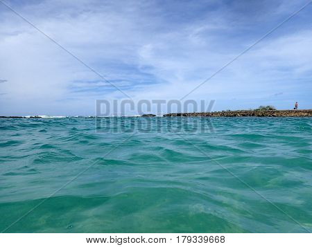 Ocean water ripple in Kuilima Cove at Turtle Bay Oahu Island North Shore Hawaii